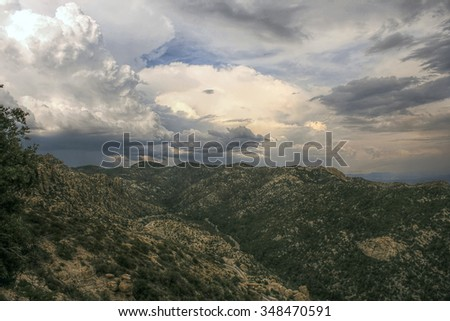 HDR Monsoon Storms Over Catalina Mountains, Arizona