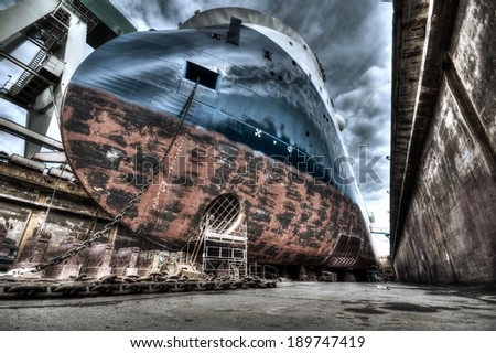 HDR of an offshore ship in a dock in Denmark, Frederikshavn. X-bow type - stock photo