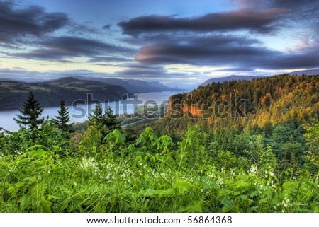 HDR of the Columbia River Gorge and Vista House and Beacon Rock beyond that. - stock photo