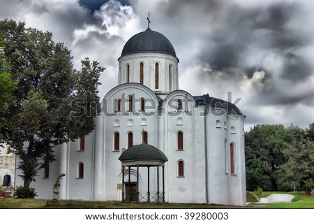 HDR.Old Russian orthodox cathedral in historical Russian town Chernigov,Ukraine - stock photo