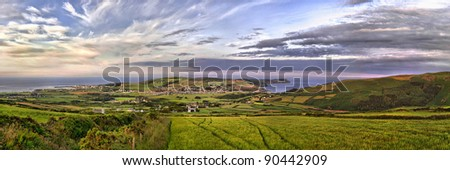 HDR Panorama of South of the Isle of Man with Port st. Mary, Calf of Man and Port Erin