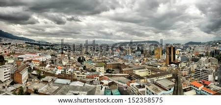 HDR panoramic cityscape of Quito, capital of Ecuador. - stock photo