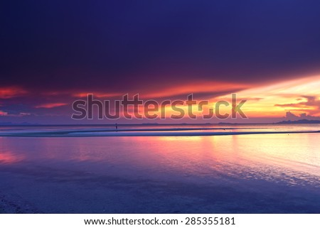HDR panoramic tropical seascape sunset background - stock photo