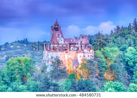 HDR panoramic view over Dracula medieval Castle Bran, the most visited tourist attraction of  Brasov, Transylvania, Romania