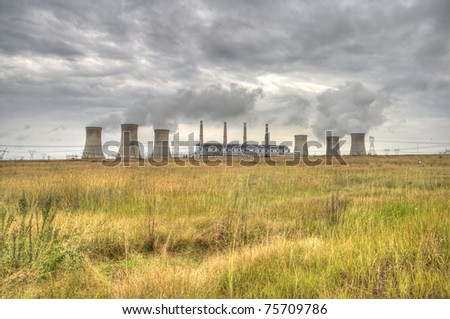 HDR photo of a PowerStation on a cloudy day - stock photo