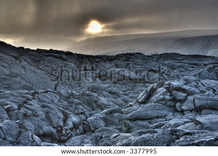 HDR photo of Lava Field - stock photo