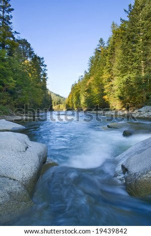 HDR photo of mountain river - stock photo
