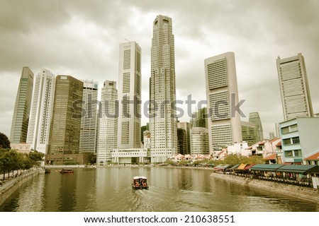 HDR photo of Singapore cityscape, Asia. Cross processed color tone - retro filtered style. - stock photo