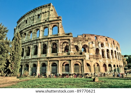 HDR photo of the roman colosseum taken by daylight