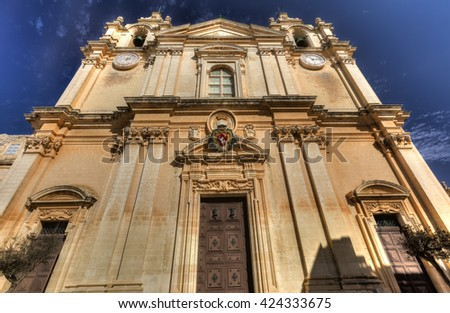 HDR photo of the St. Peter & Paul Cathedral in the city of Mdina, in Malta - stock photo