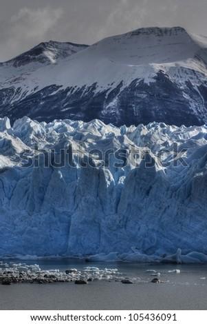 HDR photograph of the south side of Perito Moreno glacier in los glaciares National Park in Patagonia, Argentina - stock photo