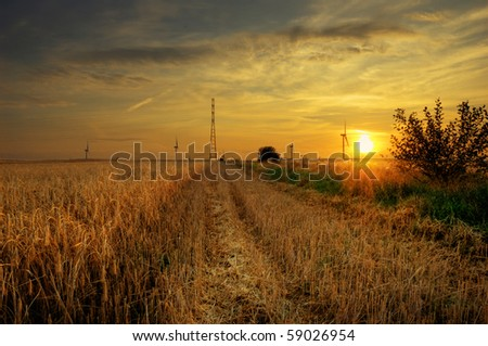 HDR picture of sundown on the field. - stock photo
