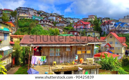 HDR Residental structures on the hill tops of Baguio City, Philippines - stock photo