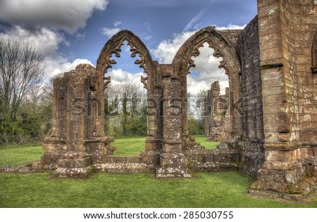 HDR shot of the South view of Lincluden Collegiate Church (also know as Priory or Abbey) in Dumfries. - stock photo