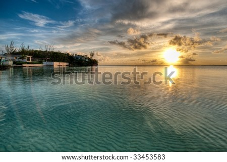 HDR Sunset in Ten Bay, Eleuthera, Bahamas. - stock photo