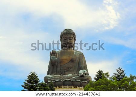 HDR: Tian Tan Giant Buddha at Po Lin Monastery Hong Kong - stock photo