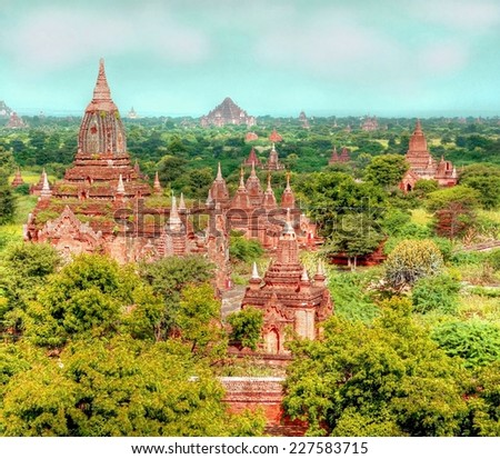HDR version from a ancient temple / pagoda at the valley of  Bagan , Myanmar  - stock photo