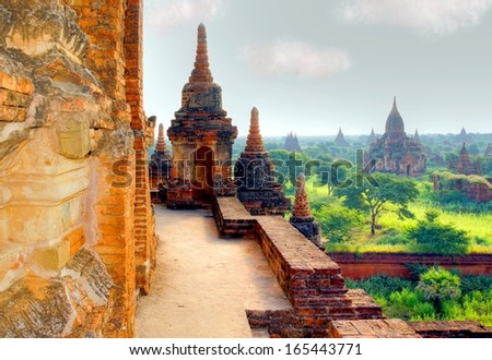 HDR version of a ancient temple in the valley Bagan  , Myanmar - stock photo