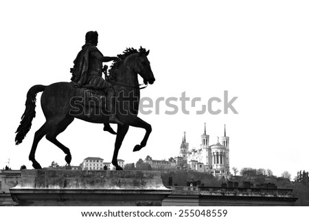 HDR view of Equestrian statue of Louis XIV and the Basilica of Notre Dame de Fourviere on a background from Place Bellecour, in Lyon center - stock photo