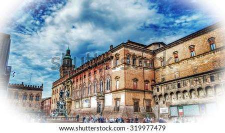 hdr view of Palazzo d'Accursio in Piazza Maggiore in Bologna, Italy - stock photo