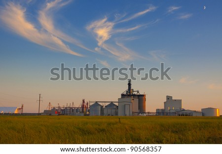 HDR view of the grain elevator in the canadian prairies - stock photo
