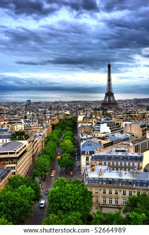 HDR view on Paris from Arc de Triomphe, Eiffel tower on background - stock photo
