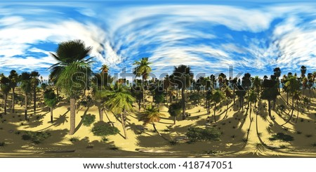 HDRI High resolution map, environment map, Round panorama, spherical panorama, equidistant projection, sea sunset, panoramic, 3D rendering. Sunset over a tropical island  - stock photo