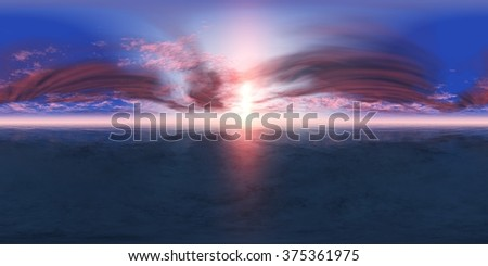 HDRI High resolution map. panorama of sea sunset, the view of the ocean sunrise, sunset at sea, tropical sunset. - stock photo