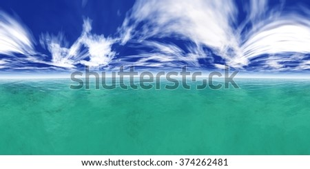 HDRI High resolution map. the sun in the clouds over the sea - stock photo
