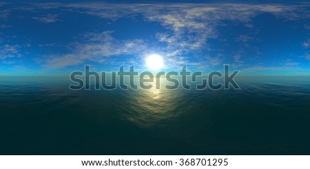 HDRI High resolution map. the sun in the clouds over the sea, panoramic ocean sunset, panorama sea sunrise - stock photo