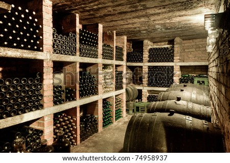 HDRI of a wine cave - stock photo