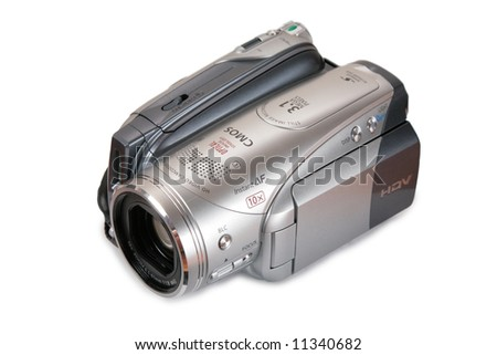 HDV video camera perspective view - stock photo