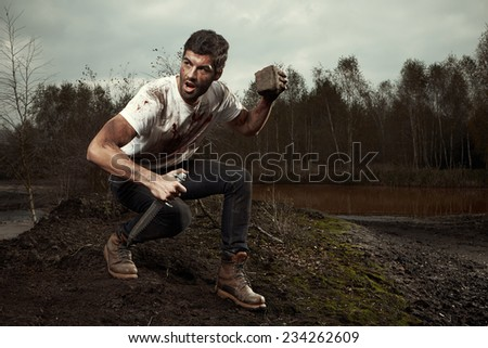 He does not give up - stock photo