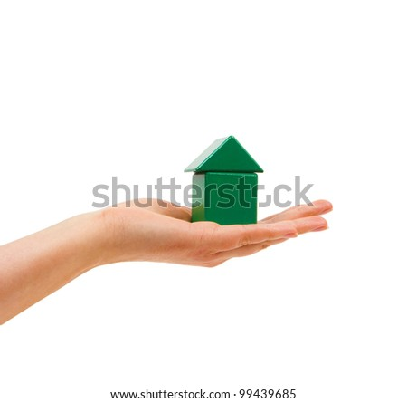He hands the woman's hand in a green house. - stock photo