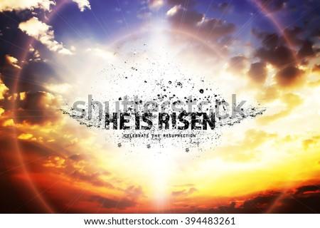 He is risen. beautiful skylight sunset, over bright - stock photo