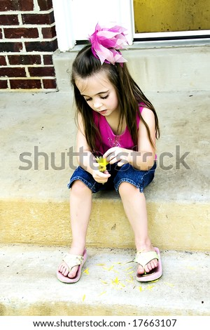 He loves me, he loves me not.  Beautiful little girl plucks pedals from a flower. - stock photo