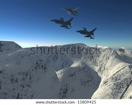 he plane flys by in a mountain landscape
