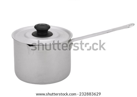 he pot of food grade aluminum with a long handle with handle and lid - stock photo
