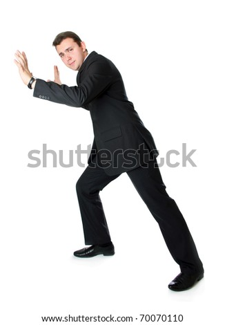 he seriosly trying move it - stock photo
