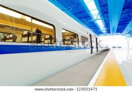 he train stopped at the station - stock photo