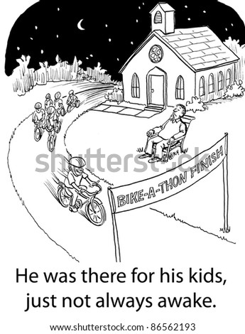 He was there for his kids, just not always awake. - stock photo