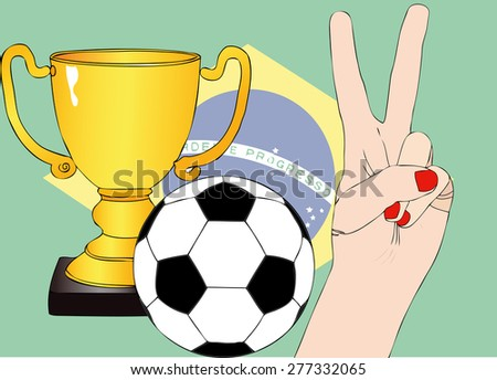 He won the Brazil - Illustration depicting the joy of a supporter for the cup won in a football tournament for nations - stock photo