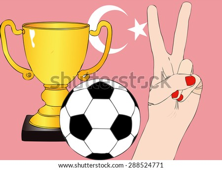 He won Turkey - Illustration depicting the joy of a supporter for the cup won in a football tournament for nations - stock photo