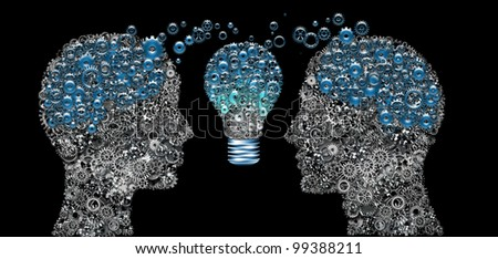Head and Brain Gears in The Human Heads with Light Bulb, Thinking Communication Concept - stock photo