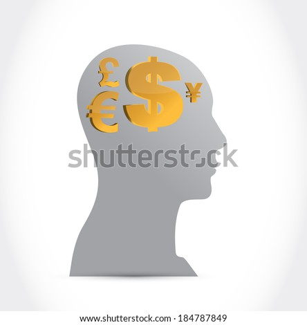 head and currency concept illustration design over a white background
