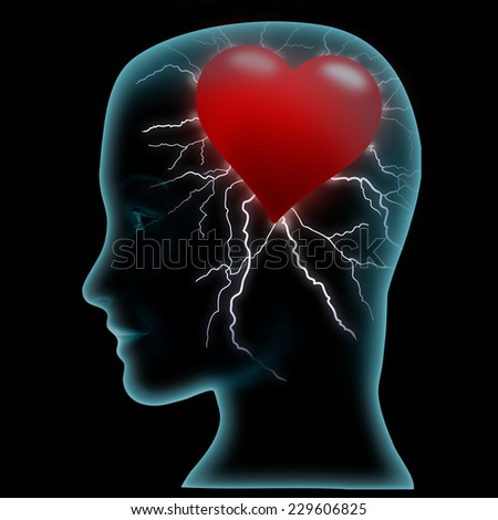 Head and heart, black background - stock photo