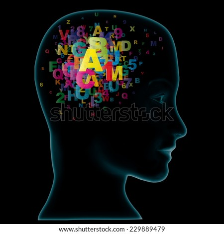 Head and letters. Learning Concept - stock photo