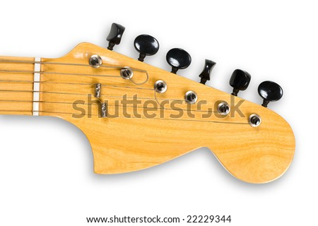 Head and neck of an electric guitar, clipping path, isolated. - stock photo