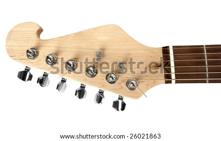 head and neck of an electric guitar isolated on white - stock photo