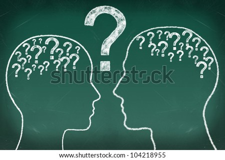 Head and question in The Human Heads, Thinking Communication Concept - stock photo
